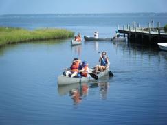 canoe in lagoon